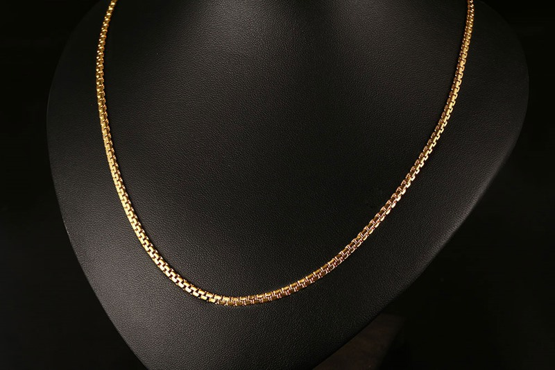 Meaeguet Gold-color Stainless Steel Flat Box Chain Necklaces Rock Men Link Chain Hip Hop Party Jewelry 24 Length (10)