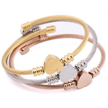 KLEEDER Triple 3 Heart Shape Titanium Steel Cable Wire Cuff Twisted Bangle Bracelet, Silver/Gold/Rose Gold Color