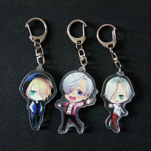 3pcs/set Yuri On Ice Yuri Katsuki Yuri Plisetsky Victor Doubleside Print Useful Pendant Key Holde Keychain Keyrings Portachiavi