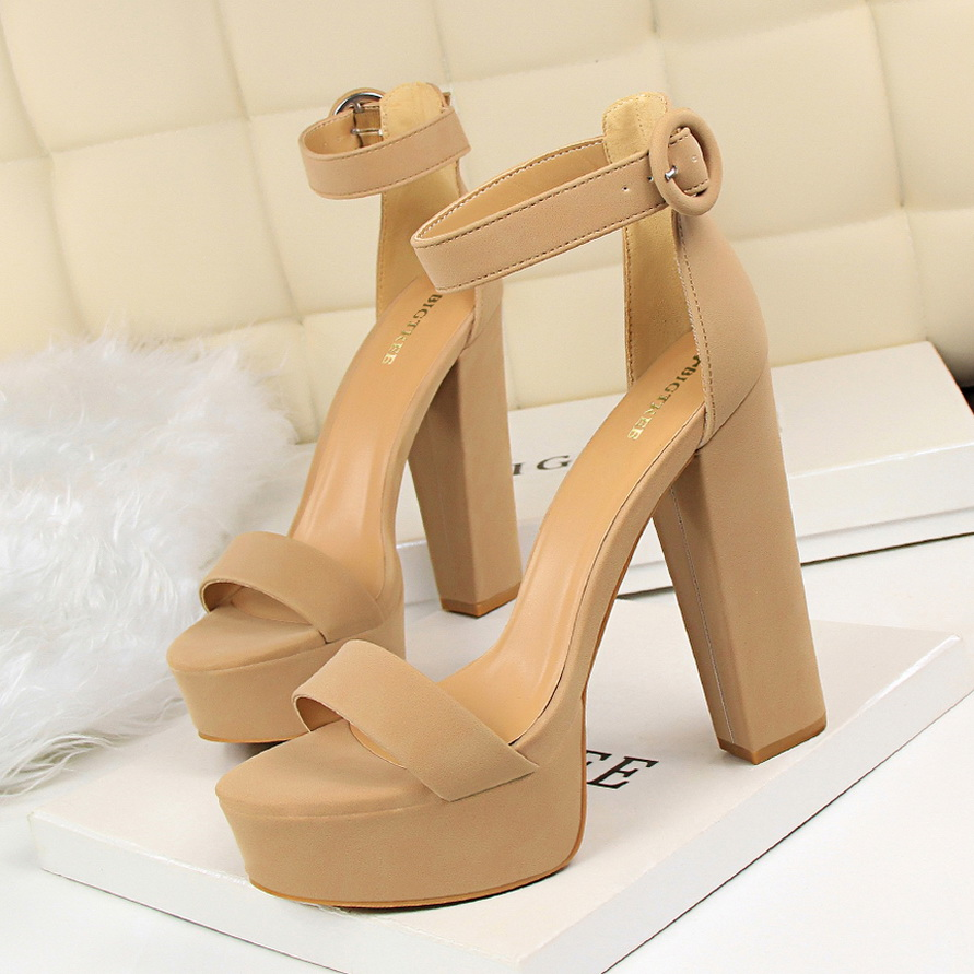 BIGTREE Shoes Buckle Block Heels Platform Women Sandals High-Heels Sexy Fashion New Pu title=
