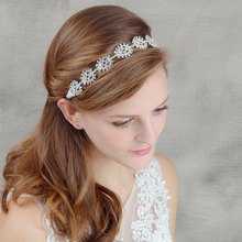 Classic Clear Stone Bridal Headbands Crystal Metal Flower Wedding Hair Jewelry Hairbands Accessories(China)