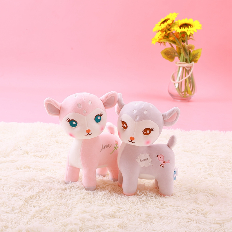 New 28/36/46cm Cute Super Soft Filled Wild Animal Gray Pink Deer Cartoon Plush Toy Soft Plush Deer Doll To Give  Children A Gift