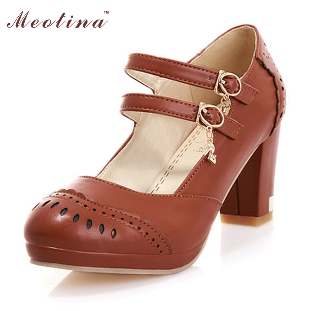 Shoes Women Pumps Spring Round Toe Mary Jane Causal Chunky High Heels Footwear Buckle Ladies Shoes Pumps Large Size 44 45<br><br>Aliexpress
