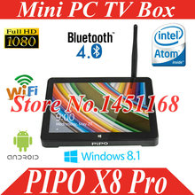 "smart Mini PC Tv Box Pipo X8 Pro X8S Dual OS TV 7"" Display Screen Windows 10 Android 4.4 Intel Quad Core 2GB+32GB/64GB Tablet(China)"