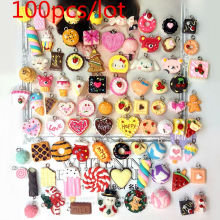 100pcs Simulation Food Cute Mixed Bread Cake Hamburger Cookie Donut Flatback Resin Cabochons Charm Pendant Fake Artificial Food