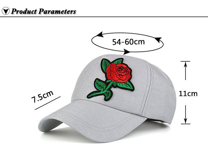Small Embroidered Flower Snapback Cap - Product Parameters