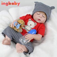 22 Inch Import Simulation Baby Reborn Baby Doll Soft Eyes Closed Doll Gift Baby Comfort Accompany Sleep Toys Doll ingbaby WJ530