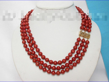 Free shipping  QW826 genuine 100% natural 3row red sponge coral necklace^^^@^Noble style Natural Fine jewe