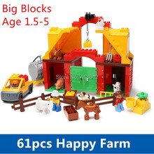 Big Blocks 61pcs Happy Farm Set Baby Blocks Funny Animal Sence Play Building Blocks Educational Toys Compatible with Dupl0