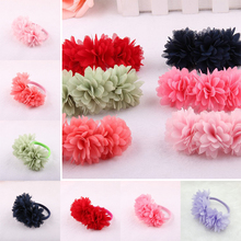 Women Girls Fabric Flower Elastic Hair Ropes Kids Hair Clips Barrette Ponytail Holder Hair Ties Rubber Band Hair Accessories(China)