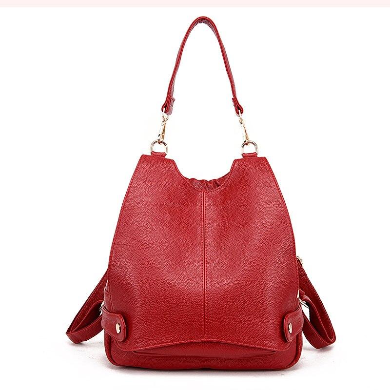 2018 New European Good Qaulity Genuine Leather Handbag  Fashion Red Leather Shoulderbag Female <br>