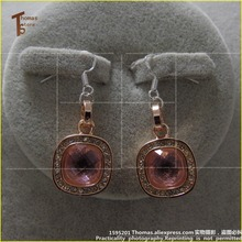 PT1518 Earbob Rose  Pink Stone Pendant,Thomas Style Glam And Soul Good Jewelry  In silver-plated