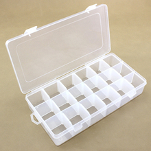 1pcs Plastic 18 Grids Adjustable Jewelry Necklace Clear Storage Box Case Holder Craft Organizer Hot KT0191