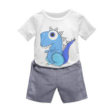 2017 Kid Children Baby Boys Cartoon dinosaur Printing T-shirt+Striped Short Pants Clothes Outfits Set boys summer clothing