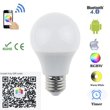 E27 B22 Bluetooth 4.5W LED Bulb RGBW Bluetooth 4.0 Smart LED Light Bulb Timer Color changeable by IOS / Android APP for hotel(China)
