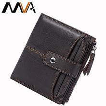 MVA Men Wallets Male Purse Genuine Leather Wallets Mini Short Card Holder Wallet Clutch Zipper Mens Coin Purse Leather Wallet(China)