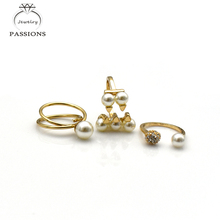 3 PCS/Ring Set Newest Big Simulated Pearl Gold Rings Set Finger Rings For Women Jewelry Accessories