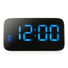 LED Digital Alarm Clock Voice Control Time Display For Home Office Desktop Memory Simple Design USB Cable Led Clock Snooze Func(China)