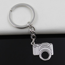 Fashion diameter 30mm Key Ring Metal Key Chain Keychain Jewelry Antique Silver Plated retro camera 23*22mm Pendant