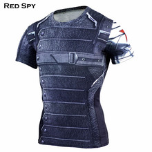 Winter Soldier 3D Printed Gyms T shirt Men T Shirt Captain America Civil War Tee Marvel Avengers iron man Fitness Tops Red Spy(China)