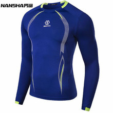 Men Compression MMA Rashguard Fitness Long Sleeves Shirts Base Layer Skin Tight Weight Lifting T Shirts M-XXL(China)