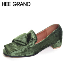 HEE GRAND 2017 Velvet High Heels Slip On Vintage Oxfords Casual Knot Shoes Woman Platform Women Brogue Shoes Size 35-40 XWD5185(China)
