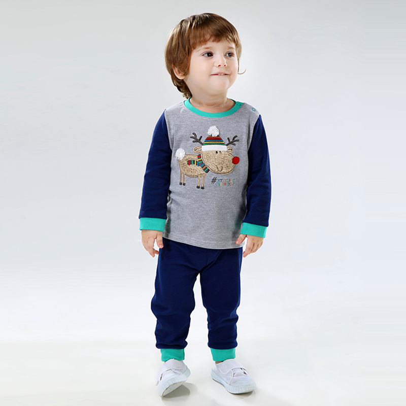Boy Suit Cotton T-shirt Embroidered Moose Ankle Banded Pants Two Sets of Childrens Clothing Kids Coat and Pant V-0015<br><br>Aliexpress