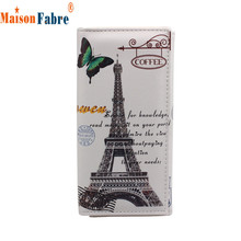 Women Long Design Purse Clutch Wallet Printing Bag Card Case Butterfly Iron Tower Female Photo Holder Purse Pocket  Money  Nov19