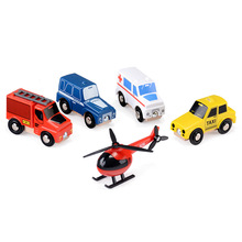 Wooden Emergency Rescue Vehicle Toy Set Taxi Helicopter Ambulance Police Car Fire Truck Model Toys Children Collections Gift