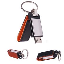 100% real capacity 2 colors Leather USB Flash Drive 8GB/16GB/32GB keychain Pendrive flash Memory stick Pen Drive Metal Key Ring