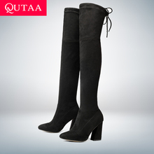 QUTAA 2018 새 떼 가죽 Women 넘 다 니 Boots Lace Up Sexy (High) 저 (힐 가 Woman Shoes Winter Women boots Size 34-43(China)