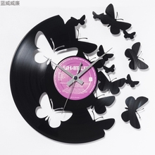 wall digital clock led wall clocks living room decoration butterfly vinyl disc wall clock 30cm rc-012(China)