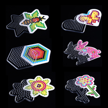 6 Style Puzzle Pegboards Patterns with Colored Paper For 5mm Hama Perler Beads DIY Kids Craft Plastic Stencil Child