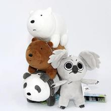 4pcs/set 12cm We Bare Bears Popular Cartoon Grizzly Ice Bear Panda Koala Plush Soft Doll Animal Stuffed Pendant Baby Kids Gifts
