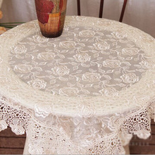 Romantic Lace Flower Embroidery Table Cloth Rectangle Home Party Hotel Wedding Tablecloth Hot Table Cover Free Shipping