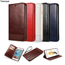Leather Case For iPhone 7 6 6s Book Flip Stand Wallet Phone Cover For iPhone 7 6 Plus 6s Plus Gel+ Card Slot Black Brown Fundas