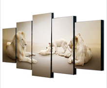 Unframed 5 Pieces Modern Lion Art Picture Wall Painting Canvas Home Decor For Living Room Animal Wall Art Lion Painting Canvas