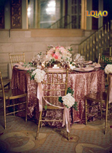 10pcs120-Inch Pink Gold Round Sequin Tablecloth for Wedding Party Cake Dessert Table Exhibition Events Decoration Table Cloth(China)