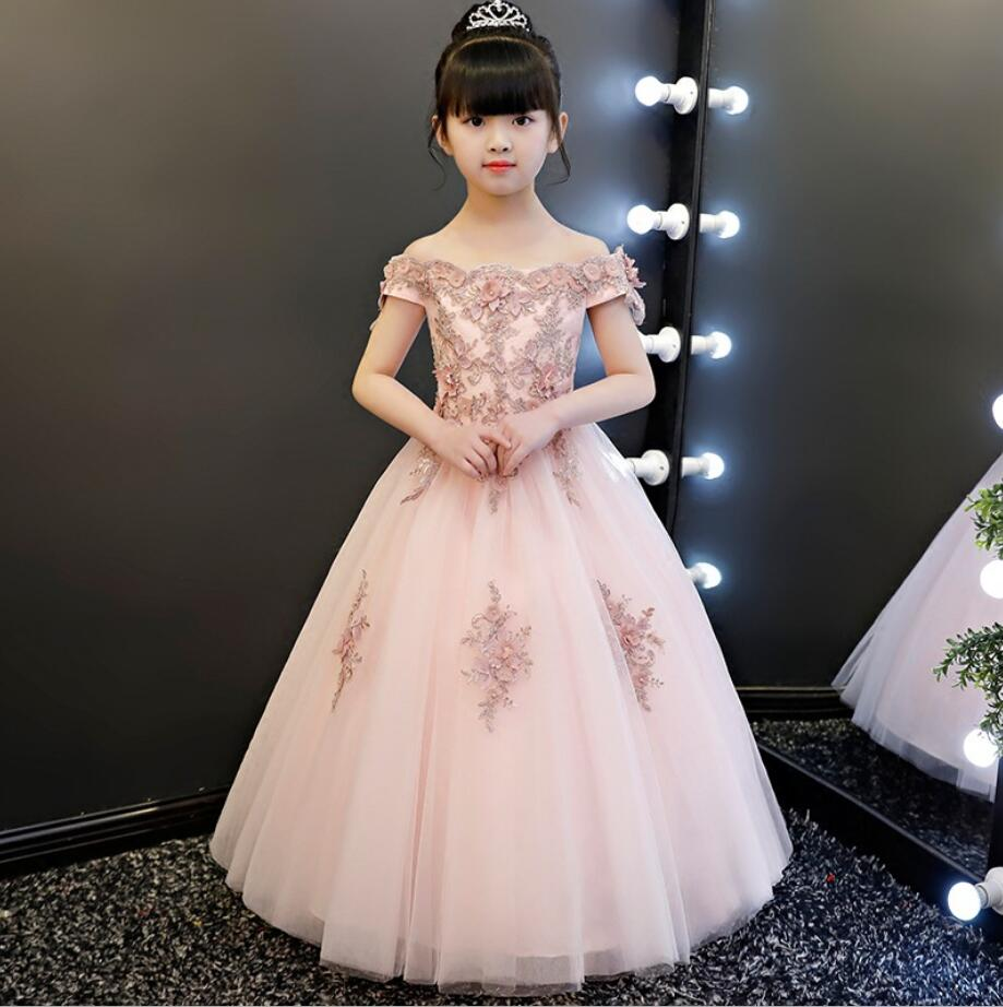 High Quality Pink Tulle Flower Girl Party Pageant Princess Dress For Little Girls Glitz Shoulderless First Communion Dresses