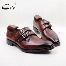 Square Plain Toe Genuine Leather Upper/Insole/Outsole Brown Color Custom Goodyear Welted Men's Dress Monk Straps No. MS142(China)
