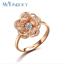 MOONROCY Free Shipping Fashion Jewelry Wholesale Cubic Zirconia Rose Gold Color Crystal Rings Flower Rings for Women Gift(China)