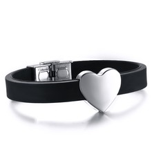 Romantic SIlicone Bracelet Bangle Stainless Steel Buckle Heart Stainless Steel Bracelet For Women Girls Jewelry BA101413(China)