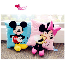 New 3D Mickey Mouse and Minnie Mouse Plush Pillow Toys Kawaii Mickey and Minnie Plush Doll Toys Children Kids Toys birthday Gift