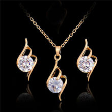 2018 White Crystal Gold Color Jewelry Set For Women Necklace/Earrings/Pendents Jewellery African Beads Jewelry Set(China)