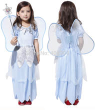 Free shipping ,children girl blue silver fairy tinkerbell dress with wing cosplay party maiden costume  .