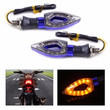 2pcs Motorcycle 12 LED Turn Signal Indicators Blinker Amber Light Fit For Honda Yamaha Suzuki Kawasaki Ducati KTM BMW Triumph