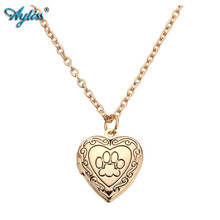Ayliss New Alloy Heart Pendants Necklace Dog Paw Print Living Memory Friend Photo Frame Open Locket Necklace Gift For Women Girl(China)