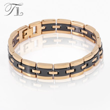 TL Stainless Steel Bangles Bracelets Solid Gold & Silver Plated Black Ceramic Bracelets Business Style Men Jewelry Love Bangles(China)