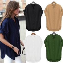 New Fashion Women Short Sleeve Loose Casual Blouse Shirt Tops