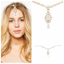 H:HYDE Indian Gold Color Hair Accessories Crystal Simulated Pearl Drop Forehead Jewelry Women Girls Wedding Bridal Hairpins(China)